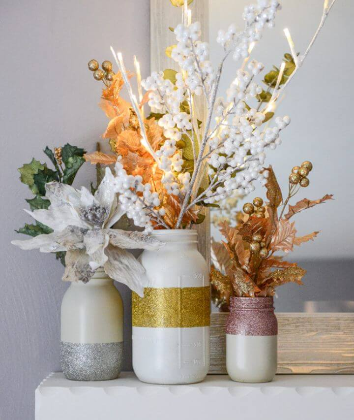 Make Glittery Winter White Mason Jars