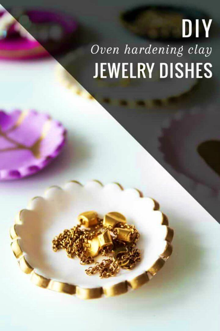 Make Gold decorated Clay Jewelry Dishes