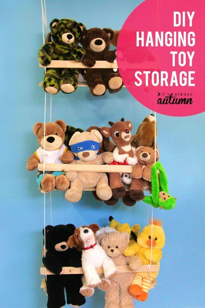 Make Hanging Toy Storage to Organize the Stuffed Animals