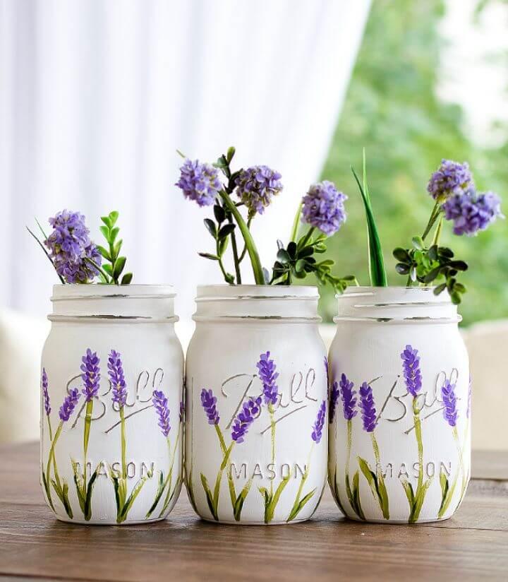 Make Lavender Flower Painted Mason Jars