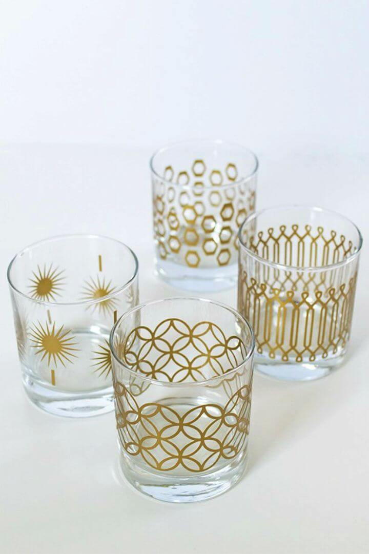 Make Metallic Print Glassware