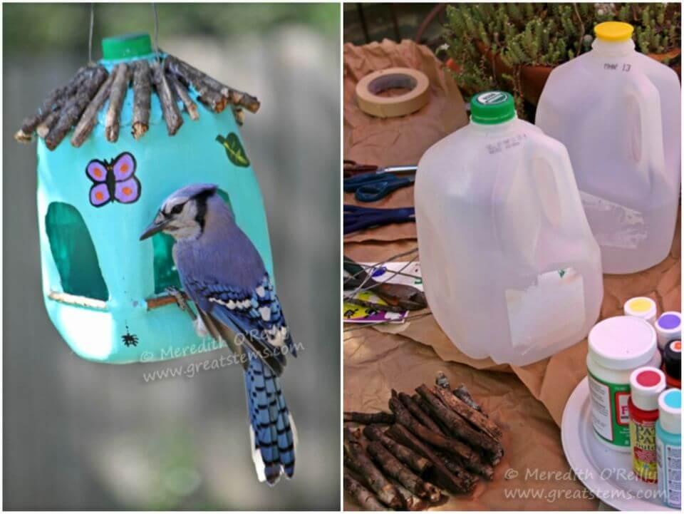 Make Milk Jug Bird Feeders