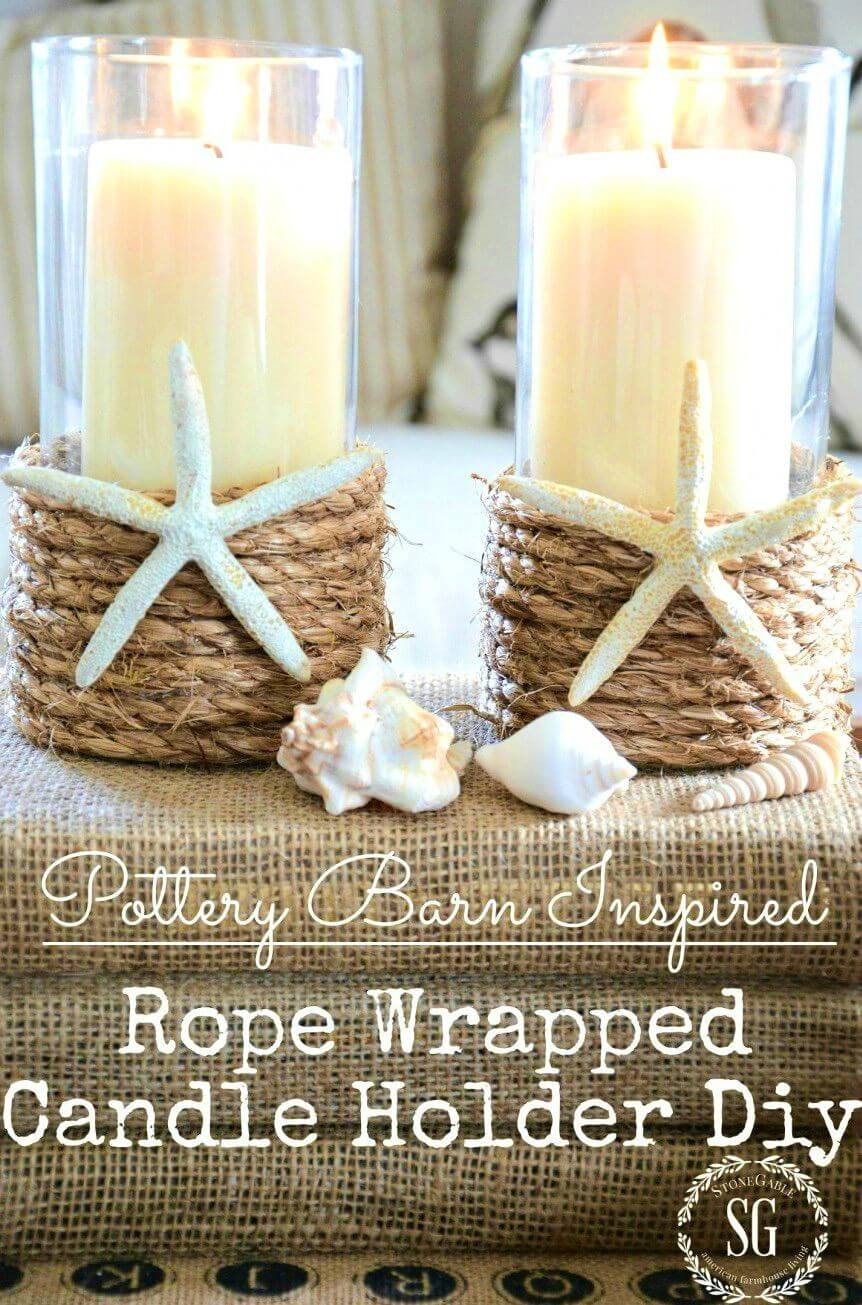 Make Pottery Barn Inspired Rope Wrapped Candleholder