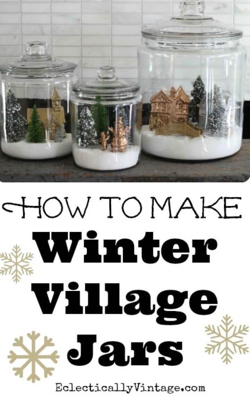 Make Winter Snow Globe Jars