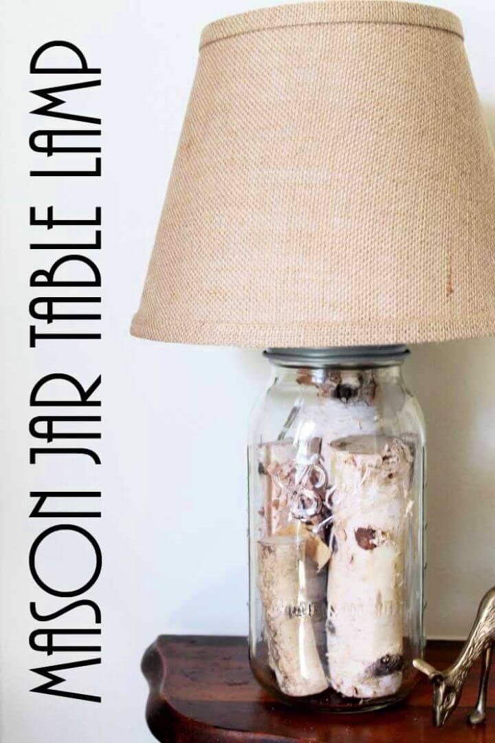 Make Your Own Mason Jar Table Lamp