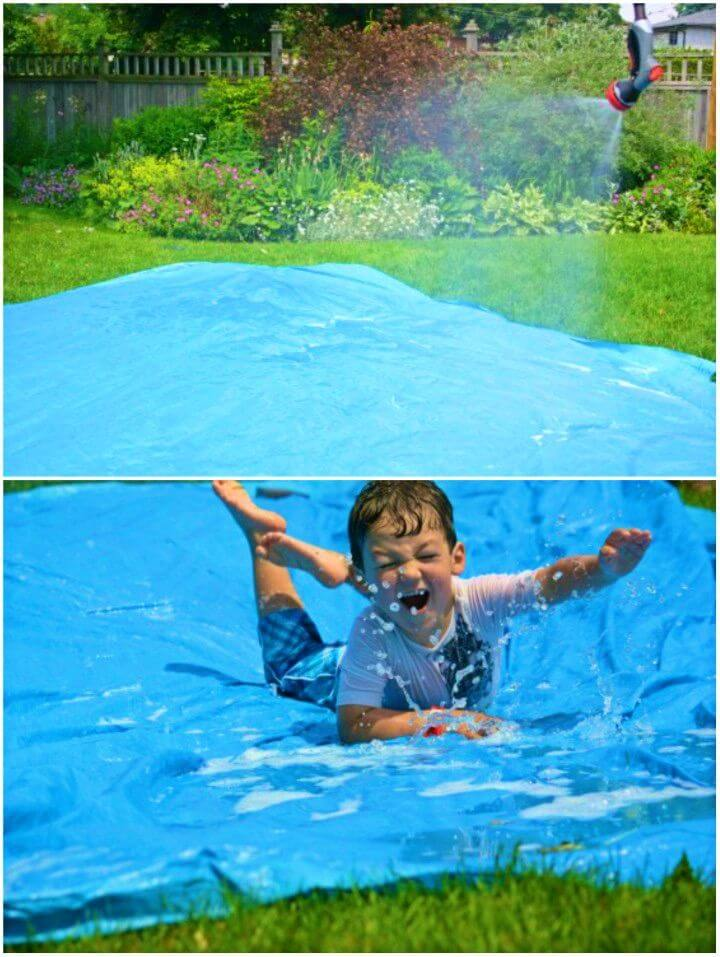 Make a Homemade Water slide for Your Backyard Play Space