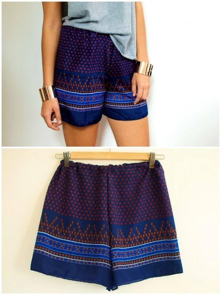Make a Scarf Print Shorts