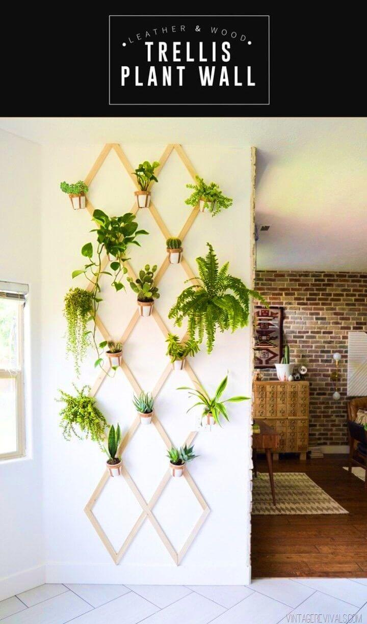 Make a Wood and Leather Trellis Plant Wall