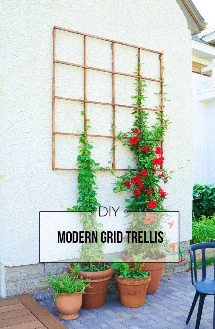 Modern DIY Grid Trellis from Garden Stakes