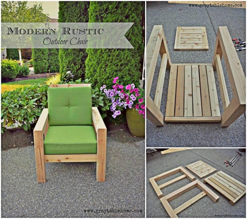 Modern DIY Rustic Outdoor Chair