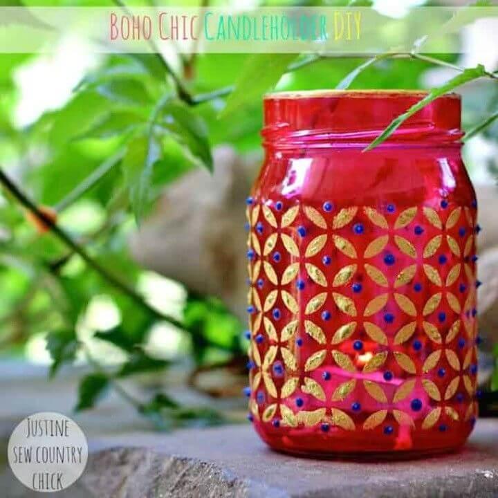 Pretty DIY Boho Chic Mason Jar Candle Holders