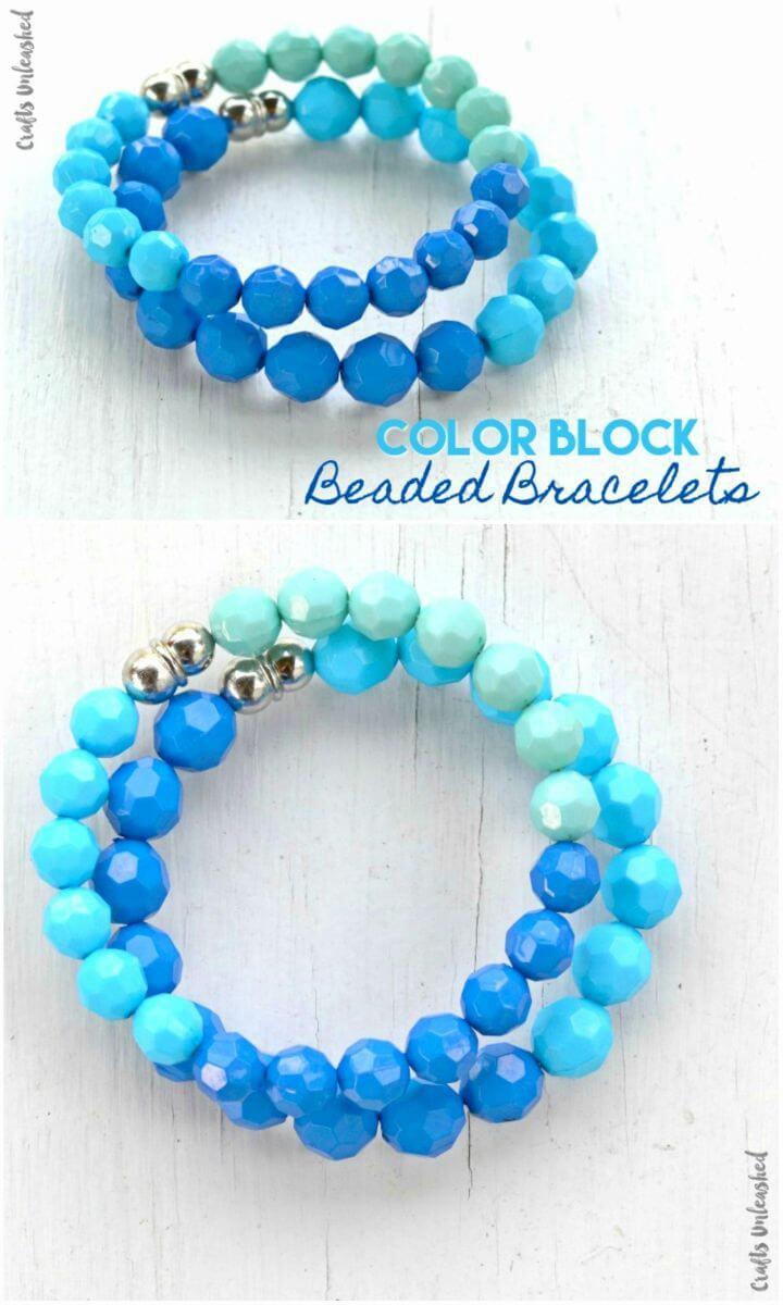 Pretty DIY Color Block Beaded Bracelets, DIY, easy DIY, quick DIY, cheap DIY projects, DIY color blocks, color blocks, DIY color block art, color block technique, DIY beaded bracelets, DIY bracelets, color block bracelet.