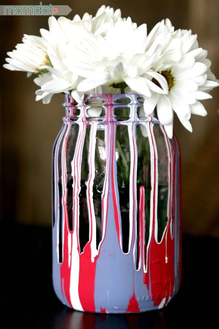 Pretty DIY Drip Painting Mason Jars