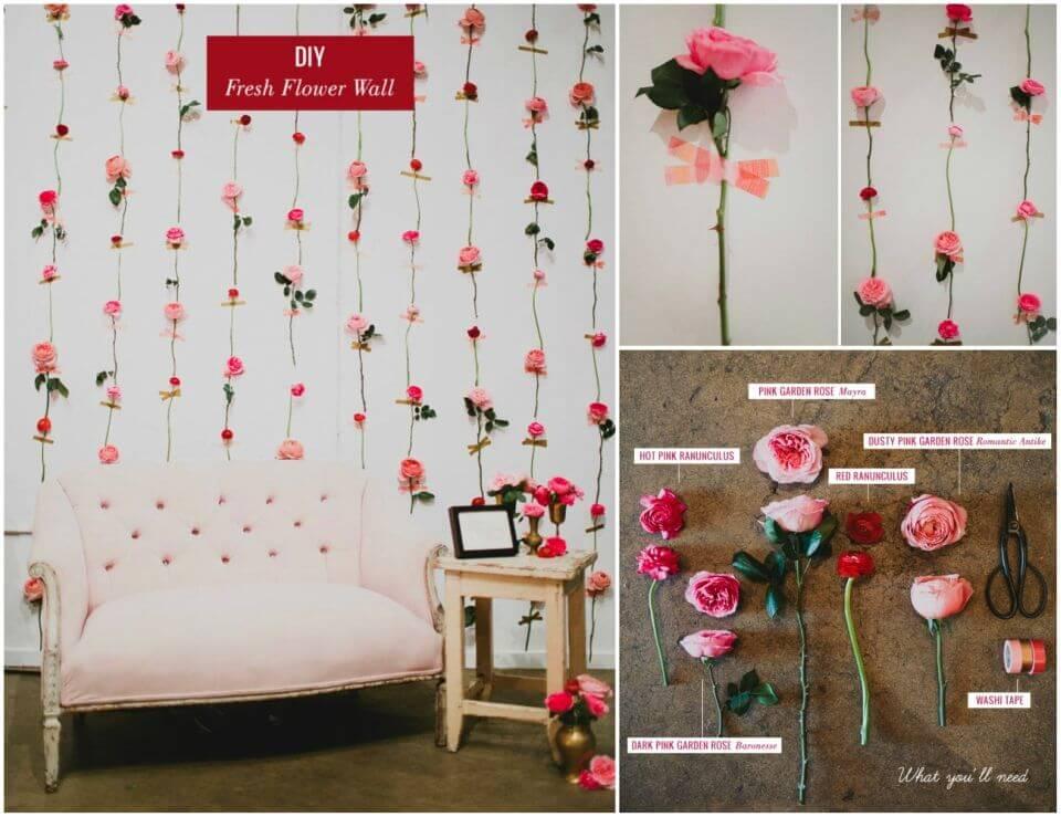 Pretty DIY Fresh Flower Wall Backdrop