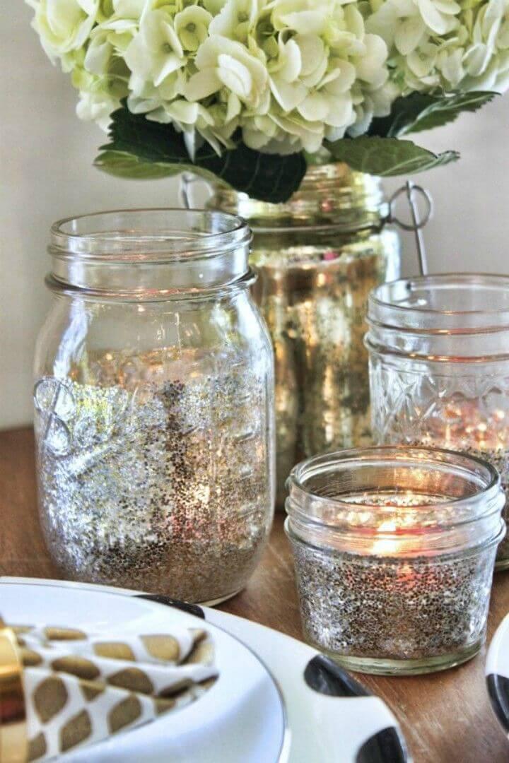 Pretty DIY Glitter Mason Jar Tea Lights