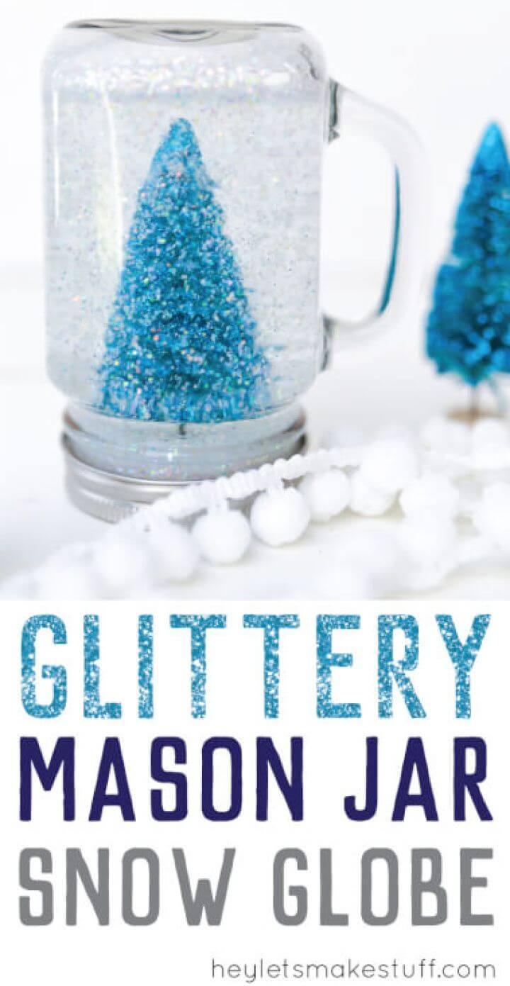 Pretty DIY Glittery Mason Jar Snow Globe