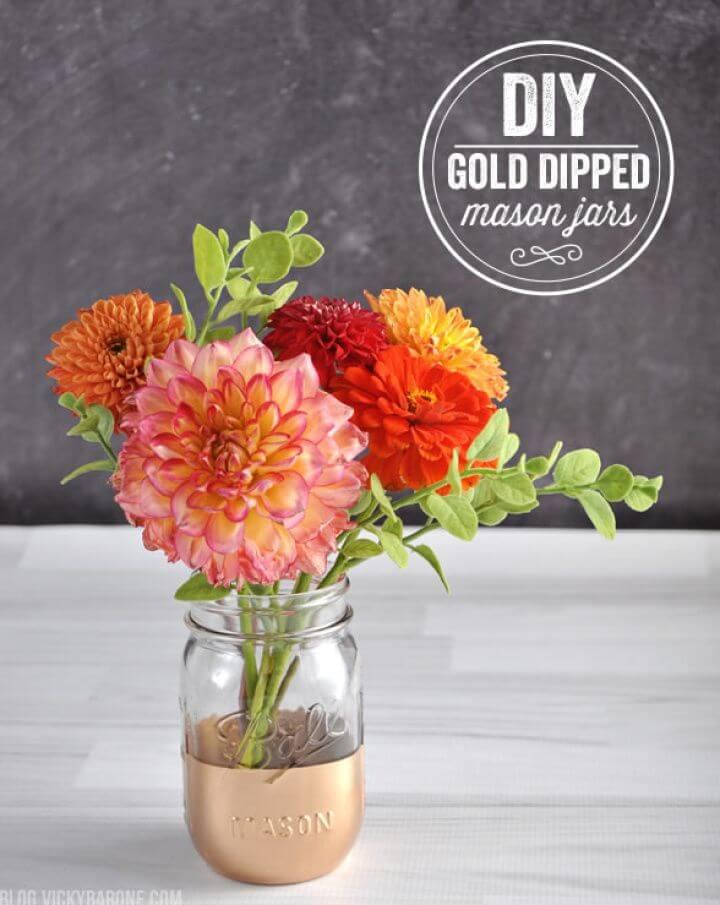 Pretty DIY Gold Dipped Mason Jars