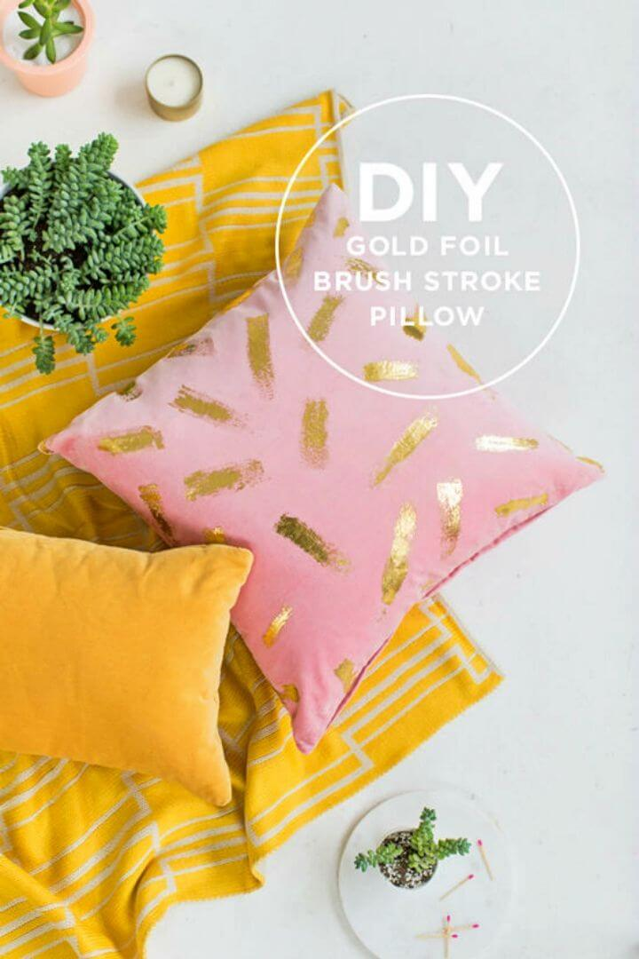 Pretty DIY Gold Foil Pillow for Gift