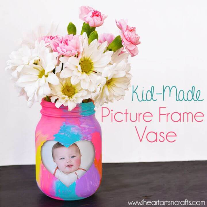 Pretty DIY Kid made Picture Frame Vase