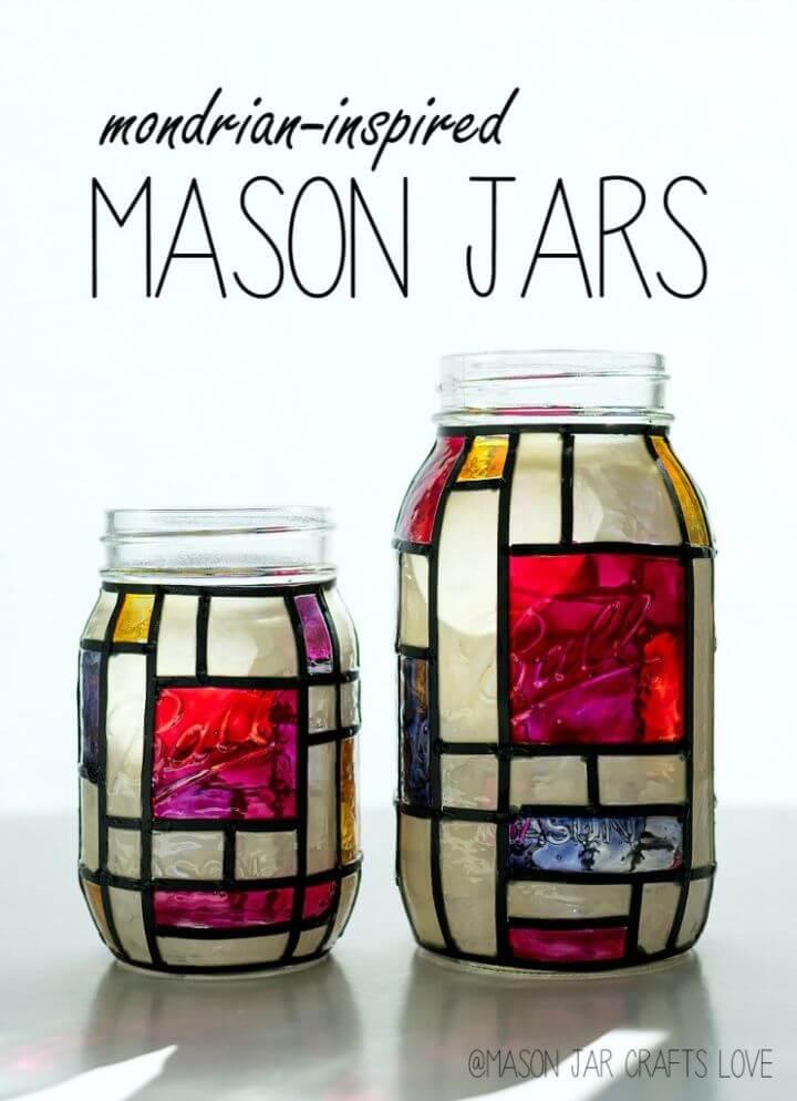 Pretty DIY Mondrian Mason Jars