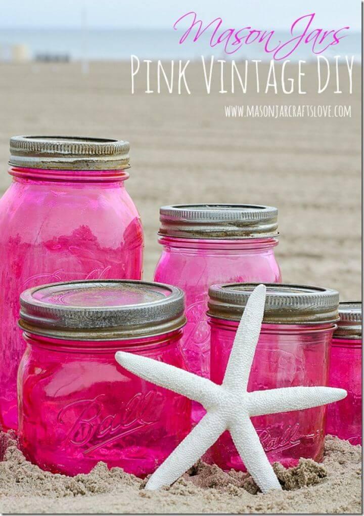 Pretty DIY Pink Vintage look Mason Jars