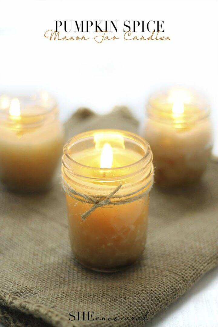 Pretty DIY Pumpkin Spice Mason Jar Candles