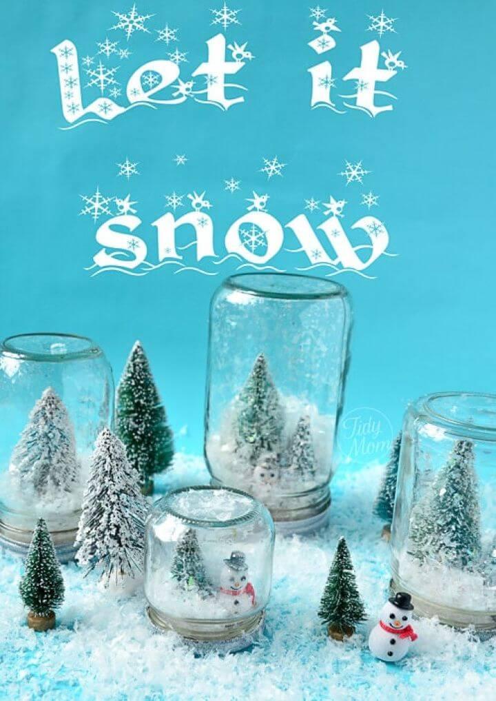 Pretty DIY Waterless Mason Jars Snow Globes