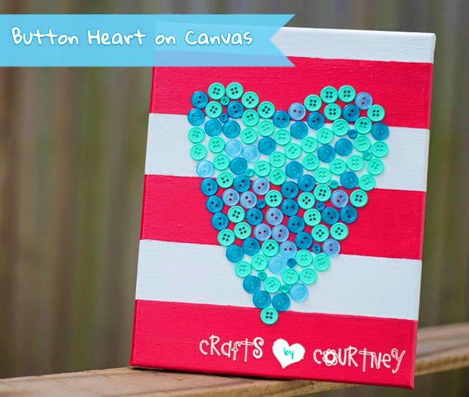 "Quick DIY ""Lovely"" Button Heart on Canvas Decoration"
