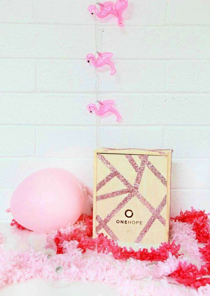 Quick DIY Glitter Wooden Gift Crate