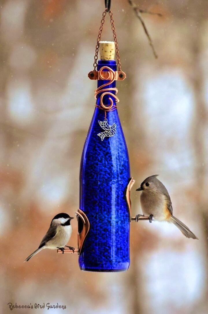 Quick DIY Wine Bottle Bird Feeders