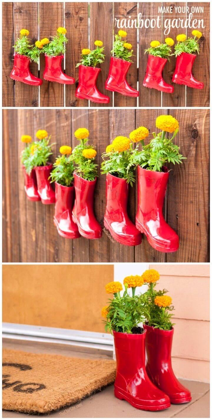 Quick and Easy DIY Rainboot Garden