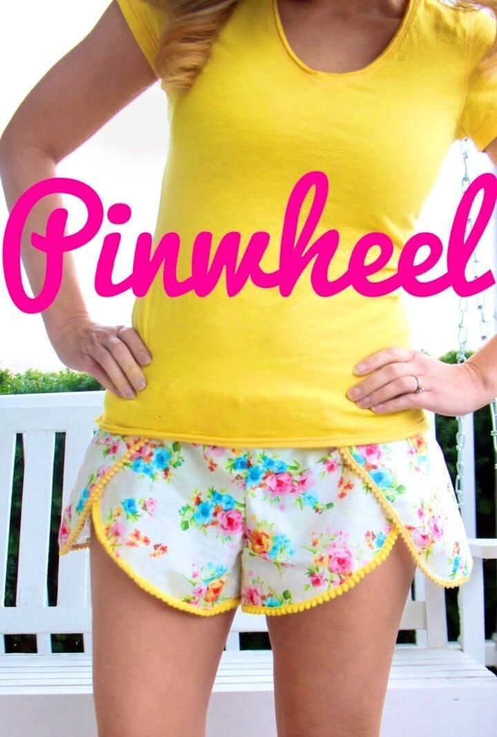 Sew Wild Flower Pinwheel Shorts