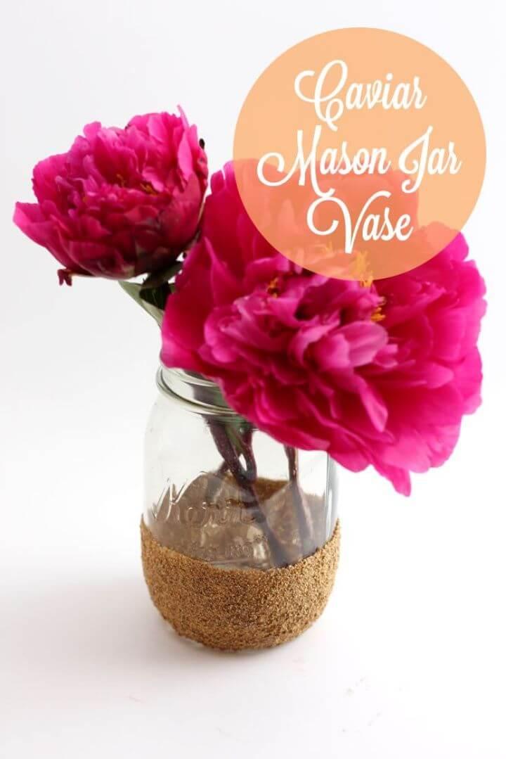 Simple DIY Caviar Mason Jar Vase