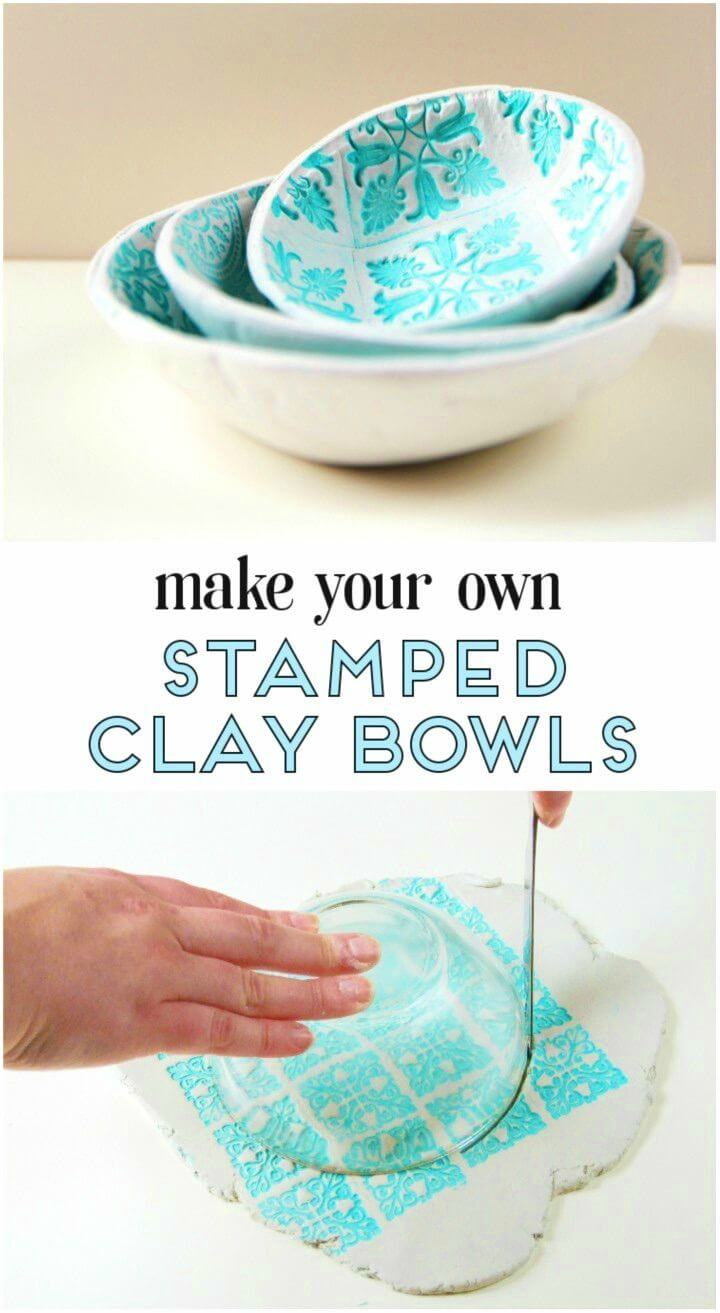Simple DIY Stamped Clay Bowls Using Air Dry Clay