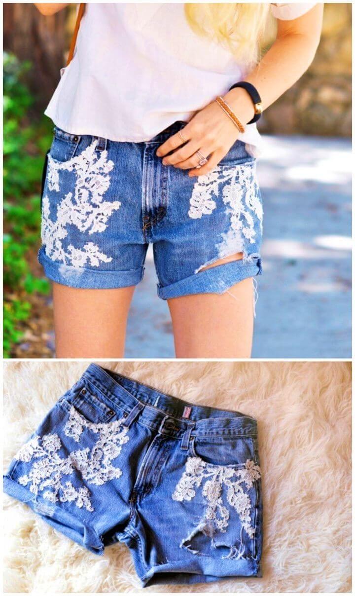 Vintage DIY Lace Jean Shorts