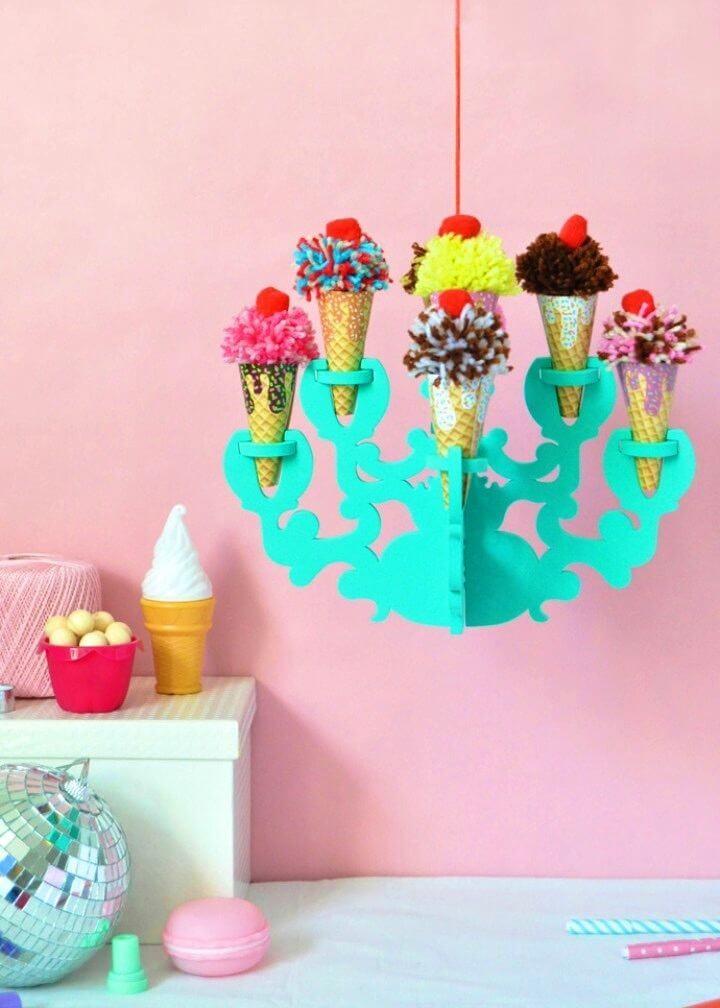 Adorable DIY Ice Cream Chandelier