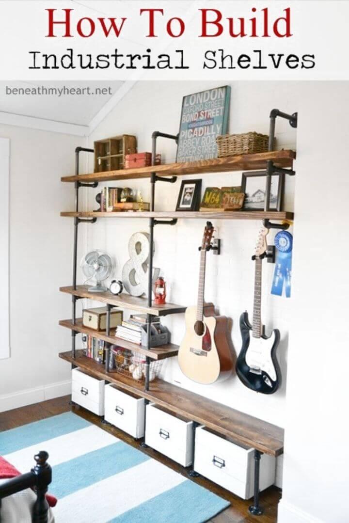 Adorable DIY Industrial Shelves