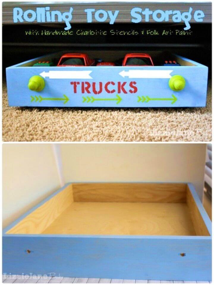 Adorable DIY Rolling Toy Storage