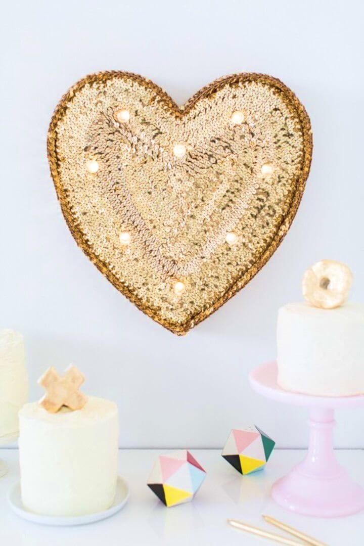 Adorable DIY Sequin Marquee Heart