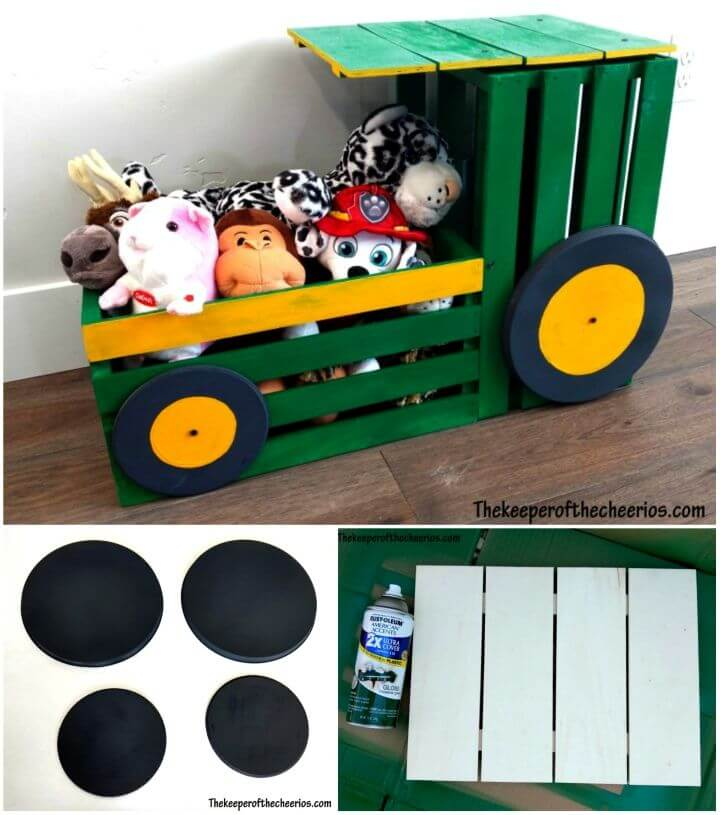 Adorable DIY Tractor Toy Box from Wooden Crate