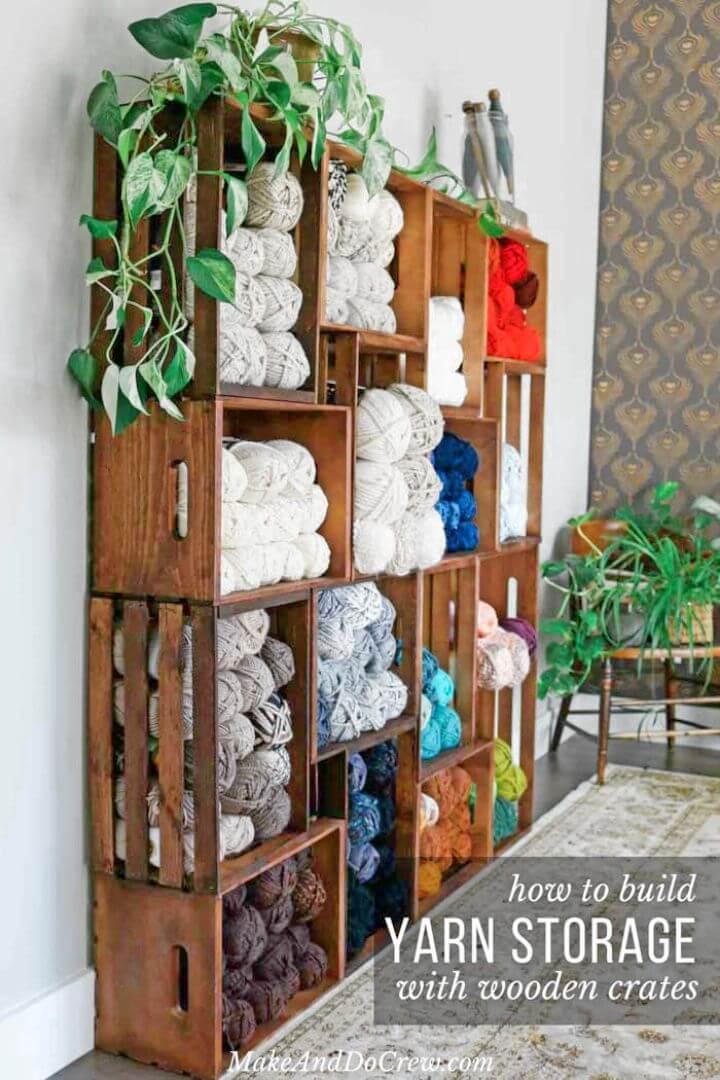 Adorable DIY Yarn Storage Shelves Using Wooden Crates