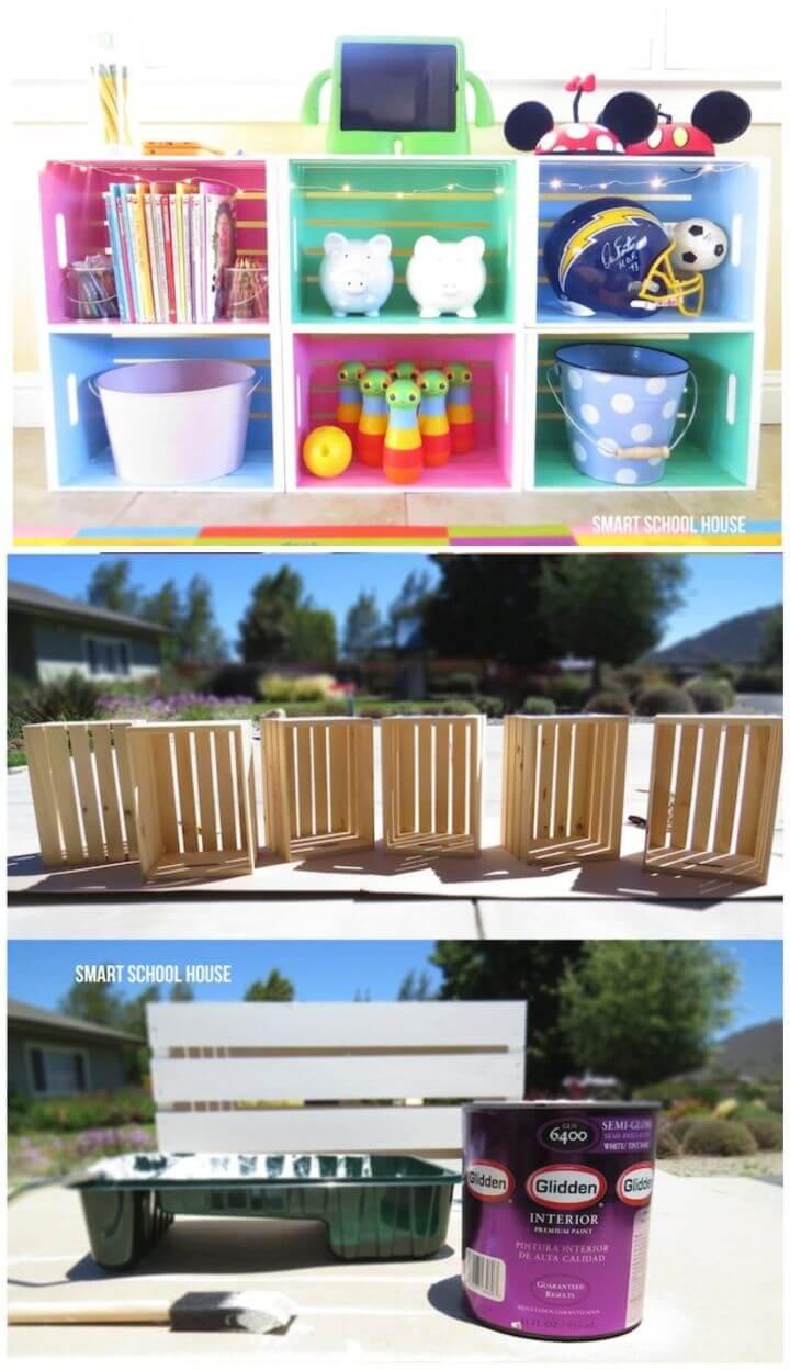 Amazing DIY Wood Crate Toy Organization