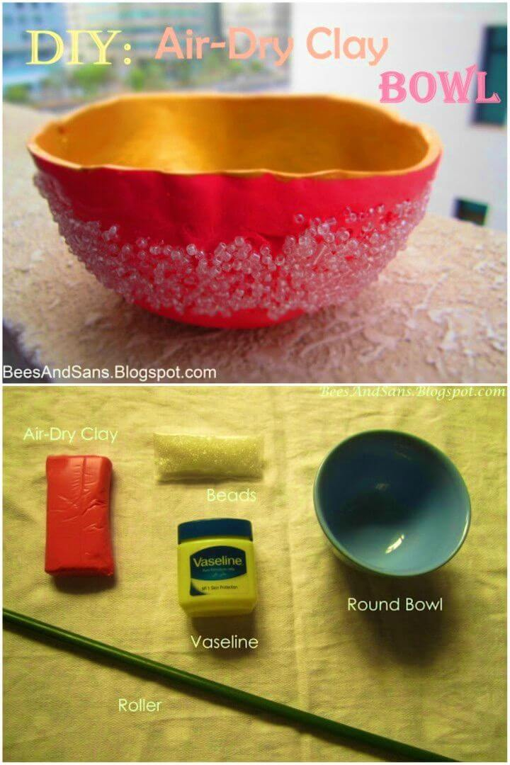Awesome DIY Air dry Clay Bowl with Beads