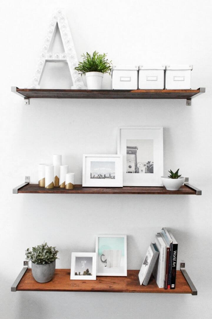 Awesome DIY Ikea Hack Distressed Wooden Shelves