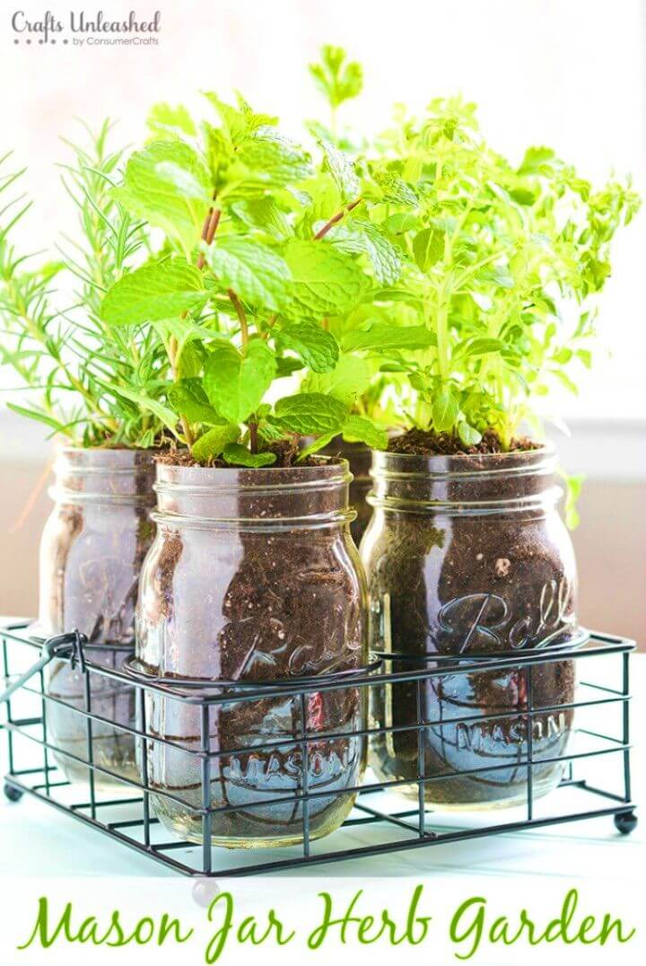 Awesome DIY Mason Jar Herb Garden