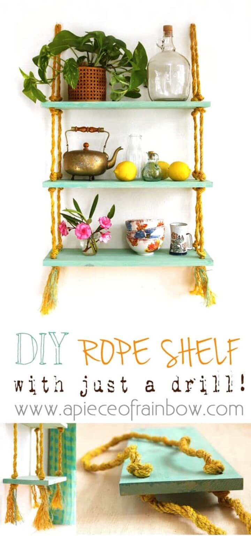 Beautiful DIY Rope Shelf Project