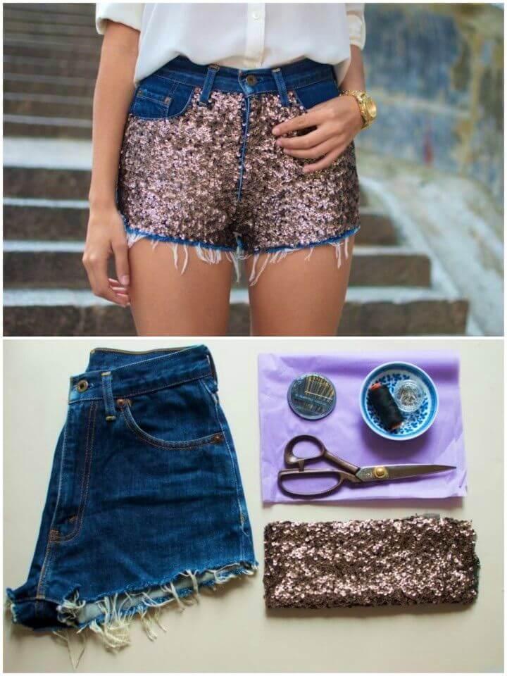 Beautiful DIY Sequin Embellished Denim Shorts