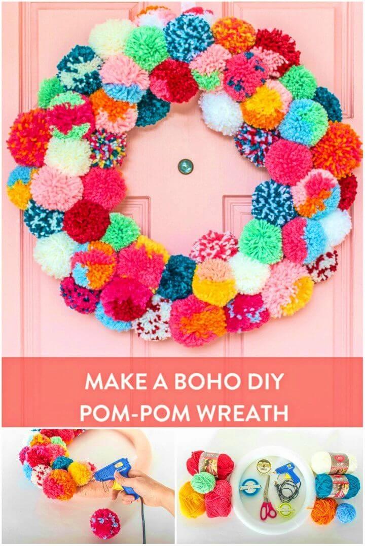 Bright and Colorful DIY Boho Holiday Pom pom Wreath