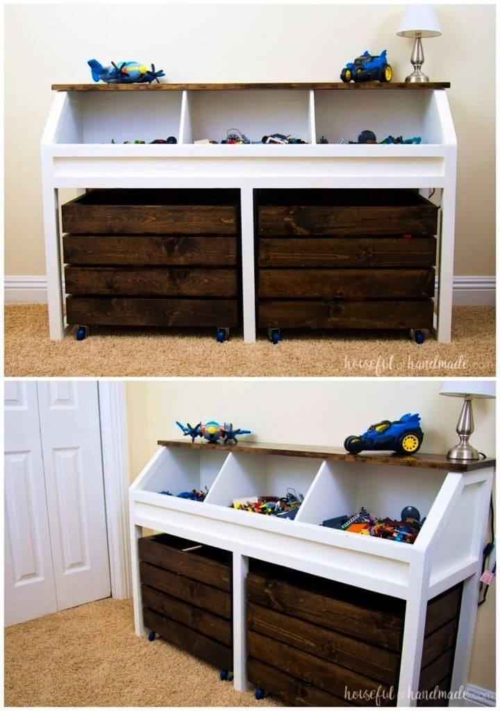 Build Toy Storage Console with Rolling Bins