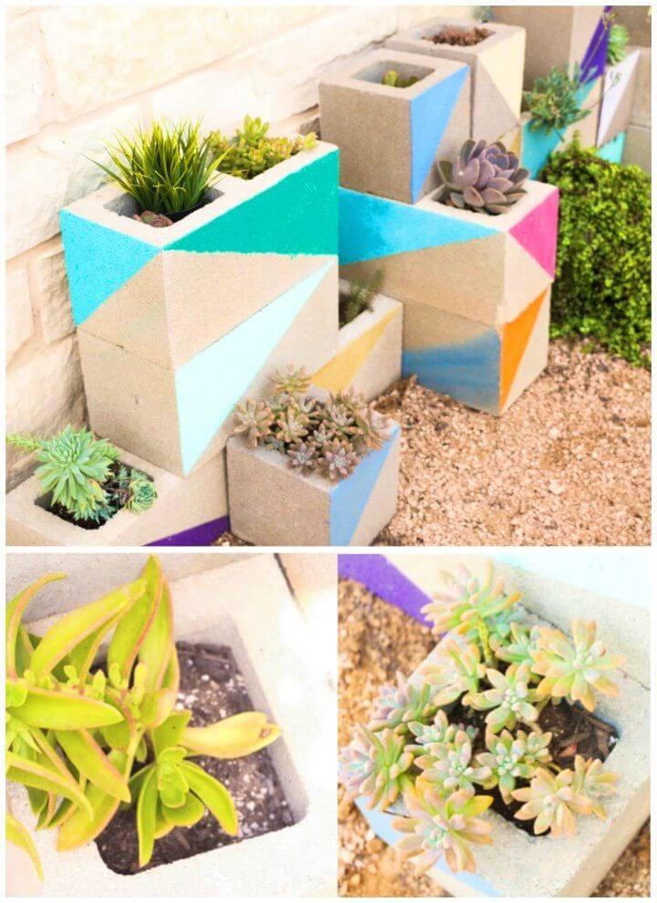 Colorful DIY Cinderblock Succulent Garden